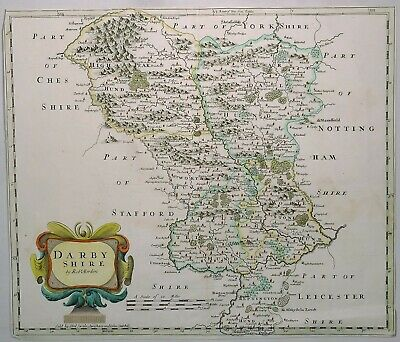 Original Hand Colored Map of Great Britain - DARBYSHIRE - by Morden in 1695