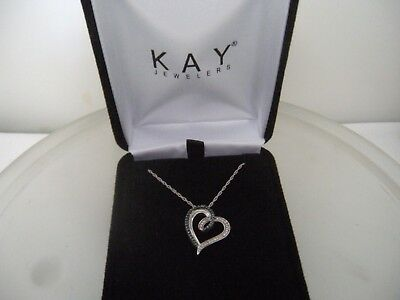 Kay Jewelers Blue And White Diamonds Heart Sterling Silver Pendant Necklace