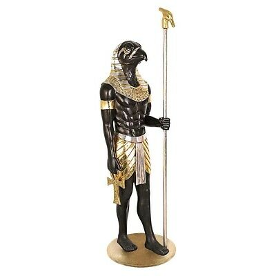 "74"" Ancient Egyptian Grand Ruler Collection: Life-Size Horus Sculpted Statues"