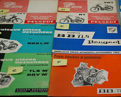 AU CHOIX: 1 catalogue PIECE DETACHEE PEUGEOT BB  RT  VRT RS BB3 mobylette cyclo