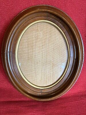 Antique Victorian OVAL Walnut Deep Well Picture Frame With Glass Excellent Cond