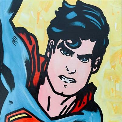 "Jozza ""Superman"" Original Hand Signed Acrylic on Stretched Canvas DC COMICS"