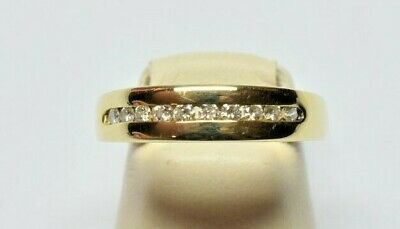 14K Solid Yellow and White Gold Channel Set 0.31 TCW G-H Color VS1 Diamond Ring