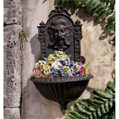 Golden Victorian Era Greenman wall Authentic Foundry Hanging Planter Home Garden