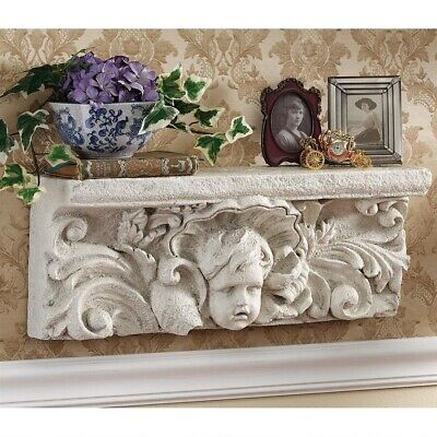 "20"" Italian Cathedral Sculptural Angel Baby Pediment Wall Shelf Hanging Decor"