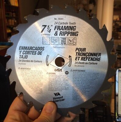 "Vermont American 24 Carbide Teeth - 7 1/4"" Framing & Ripping Circular Saw Blade"
