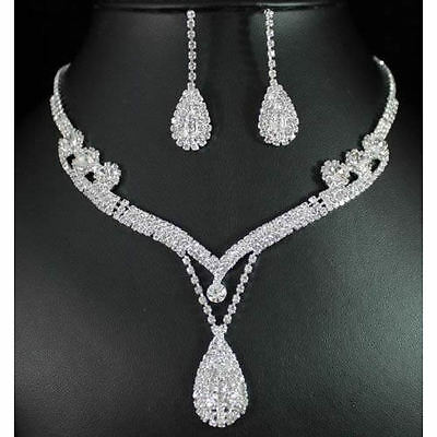 Crystal Rhinestone Earring Tear Drop Necklace Bridal Bridesmaid Jewelry Set Gift