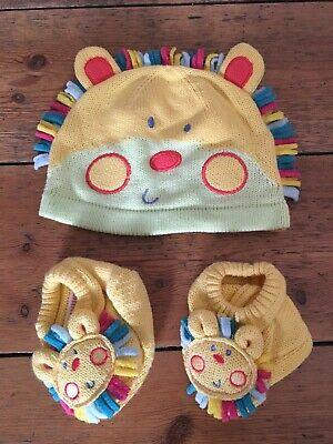 Mothercare Unisex Baby Boys Girls Rainbow Colours Lion Hat And Bootie Set NEW
