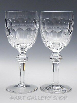 """Waterford Crystal CURRAGHMORE 7-1/8"""" TALL WINE GOBLETS GLASSES PAIR"""