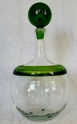 Signed Joel Myers Large Blenko Glass Decanter w Applied Band & Stopper Hand Made