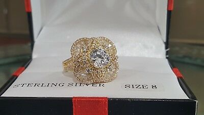CN FZN STERLING Silver With Gold Plating Cocktail Ring CZ Size 8
