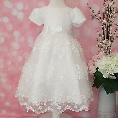 Baby Girl Traditional Christening Dress Gown Long Baptism Photo Shoot Cake Smash