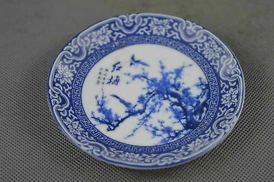 Old Collectable Porcelain Paint Plum Blossom Bird Handwork Wealth Tibet Plates
