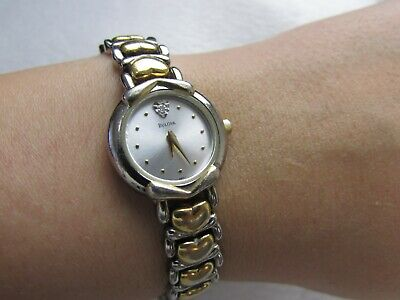 Vintage Bulova Analog Watch Women's Mother Of Pearl Quartz Crystal Heart Wrist