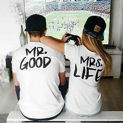 Mr Good Mrs Life T Shirt Wifey Hubby Boyfriend Love Birthday Valentines Day Gift