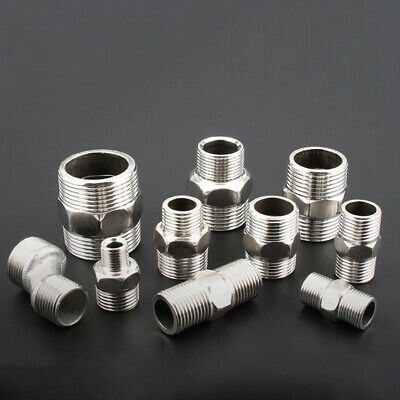 "201 304 Stainless Steel Pipe Fittings 1/4""-1.2"" BSP Male to Male Hex Connector"
