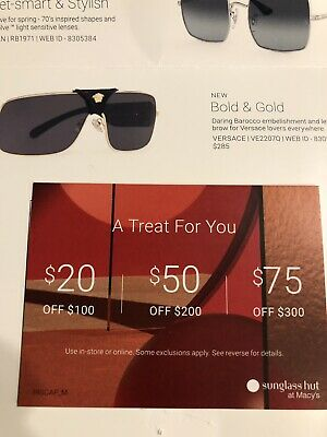 photo regarding Sunglass Hut Printable Coupons titled SUNGLASS HUT COUPON $75, $50, or $20 Off Buy, Present, 3