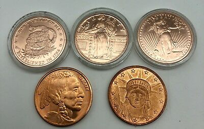Fine COPPER BULLION 5 pc .999 Pure Round 1 oz Coin Price Of Liberty Indian Head