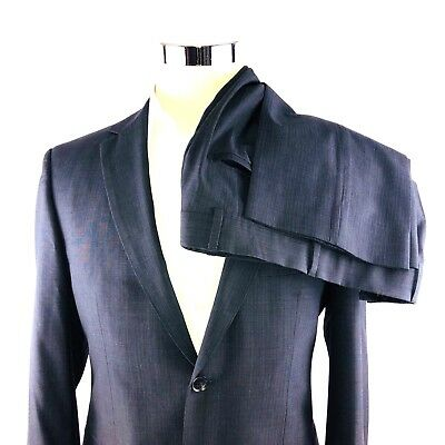 4cb9e76af Hugo Boss Black Guabello Wool Stripe 2 Button Dual Vent Suit Flat Front  30x30 38