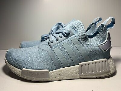 378e67bb77aea Adidas NMD R1 PK Paris Womens BY8763 Ice Blue Primeknit Running Shoes Size  10
