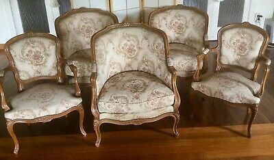 Vintage French 5 Piece Louis XV Style Lounge Setting