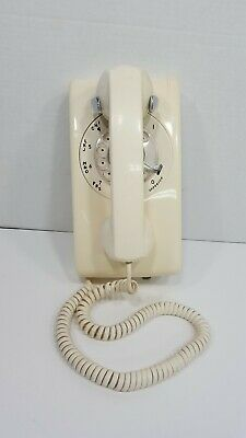 Vintage White Mid Century Rotary Telephone Wall Phone Decor Retro 554 Marking