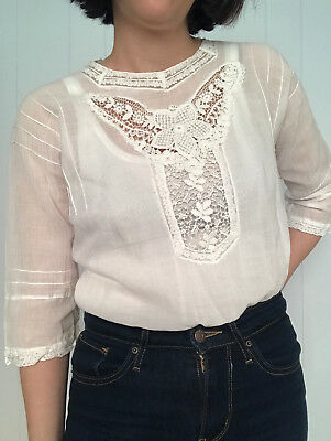 31045f497539a0 Edwardian 1910s White Summer Blouse Antique Victorian XS Small S Vintage Vtg