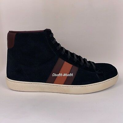 3ad662154b9 GUCCI MEN'S BLACK Suede Leather Web High-Top Lace-Up Sneaker 337221 ...