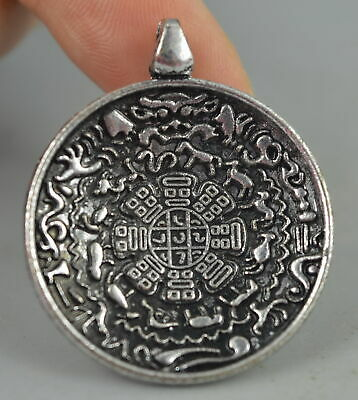 AAA Fine Collect China Decor Old Tibet Silver Carve Totem Rare Lucky Pendant