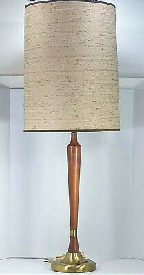 Mid Century Modern Slim Table Lamp Brass and Wood Good Vintage Condition W/Shade