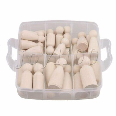 Unpainted Female & Male Wooden Peg Doll DIY Craft Toy for Decor Set of 30