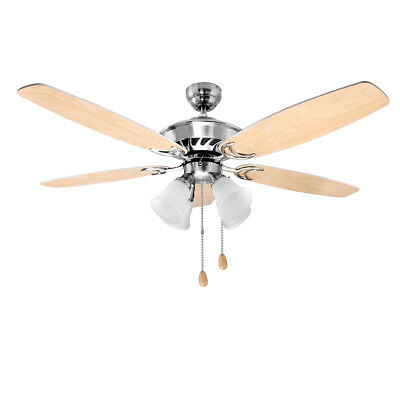 """LE Ceiling Fan With Light Kit, 52"""" LED Indoor 5 Wooden Blades Ceiling Fans, E12"""