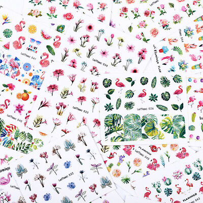 24 Sheets Nail Water Decals Summer Flower Nail Art Transfer Stickers Tips Kit