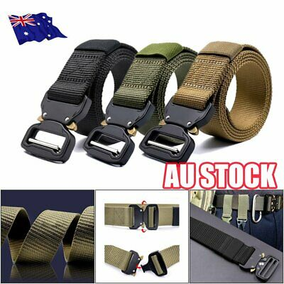 Military Style Tactical Canvas Belt Nylon Men Army Metal Buckle Cinturon MN