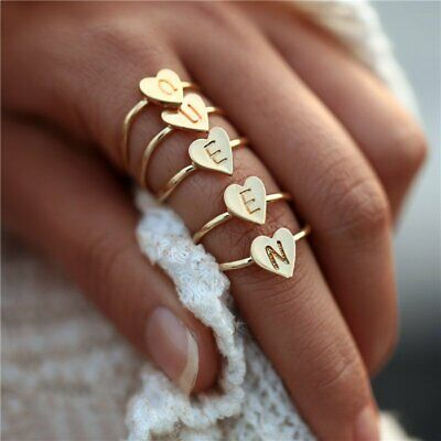 Fashion Gold Heart Letter Rings Women Hand Stamped Stacking A-Z Initial Ring DIY