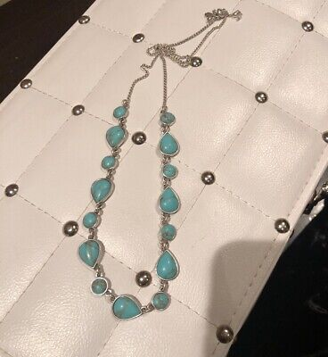 46d1d96632af4 NEW LUCKY BRAND Silver Chain With Turquoise Stone Necklace Nwot