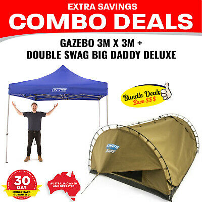 Adventure Kings Double Swag Big Daddy Deluxe + Adventure Kings - Gazebo 3m x 3m