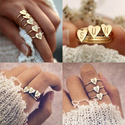 Personalized Hand Stamped Stacking A-Z Initial Ring Engraved Women Gold Heart