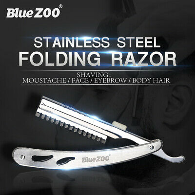 Stainless Steel Edge Razor Folding Knife Barber Facial Hair Eyebrow Shaving Tool