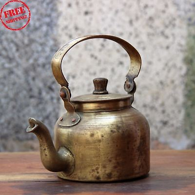 1900'S Old Indian Antique Hand Crafted Brass Kitchenware Tea Pot Kettle 416