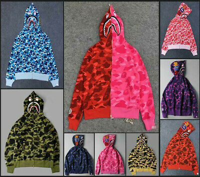 ad2060ff18bc Fashion Unisex Hoodie Bape Classic Camo Shark Jaw Head Icon A Bathing Ape  Jacket