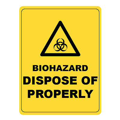 Biohazard Dispose Of Properly Warning Sign, Metal Aluminium Safety Caution Sign