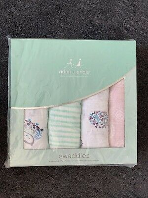 Brand New Aden and Anais Breathable Muslin Bunny Wrap 4-pack Swaddles 120x120cm