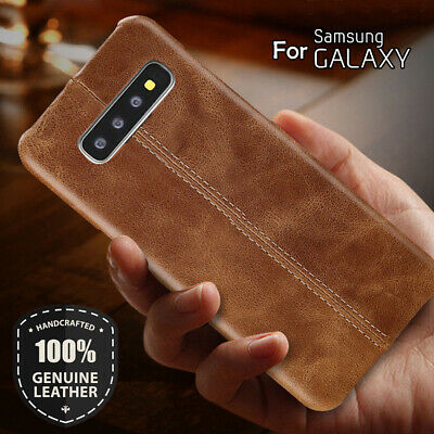 Genuine Leather Back Case Cover For Samsung Galaxy S8 S9 S10E S10 Plus Note 8 9