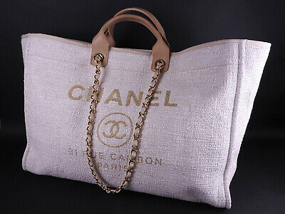 d8e6f6015282 CHANEL Deauville GM 2way Chain Shoulder Tote Bag Beige Gold Tweed Canvas  A-9156