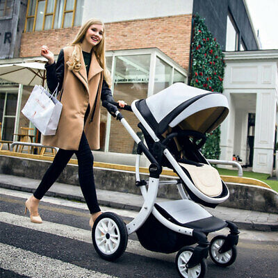 Baby Stroller Foldable PU Pushchair Jogger Carriage Infant Travel System