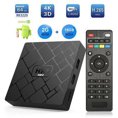 HK1 MINI Quad Core 2+16GB Smart Android 8.1.0 TV BOX 4K H.265 Streaming Player