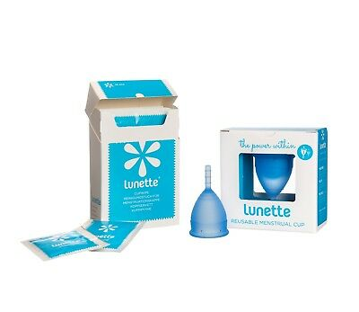 SALE authentic LUNETTE Menstrual CUP  Reusable Silicone FREE 10x wipes & postage