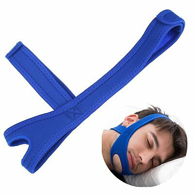 BLUE Snore Stop Belt Anti Snoring Cpap Chin Strap Sleep Apnea Jaw Solution TMJ