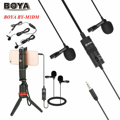 Boya BY-M1DM Dual-Head Lavalier Condenser Microphone + Windsheid for Camcorders